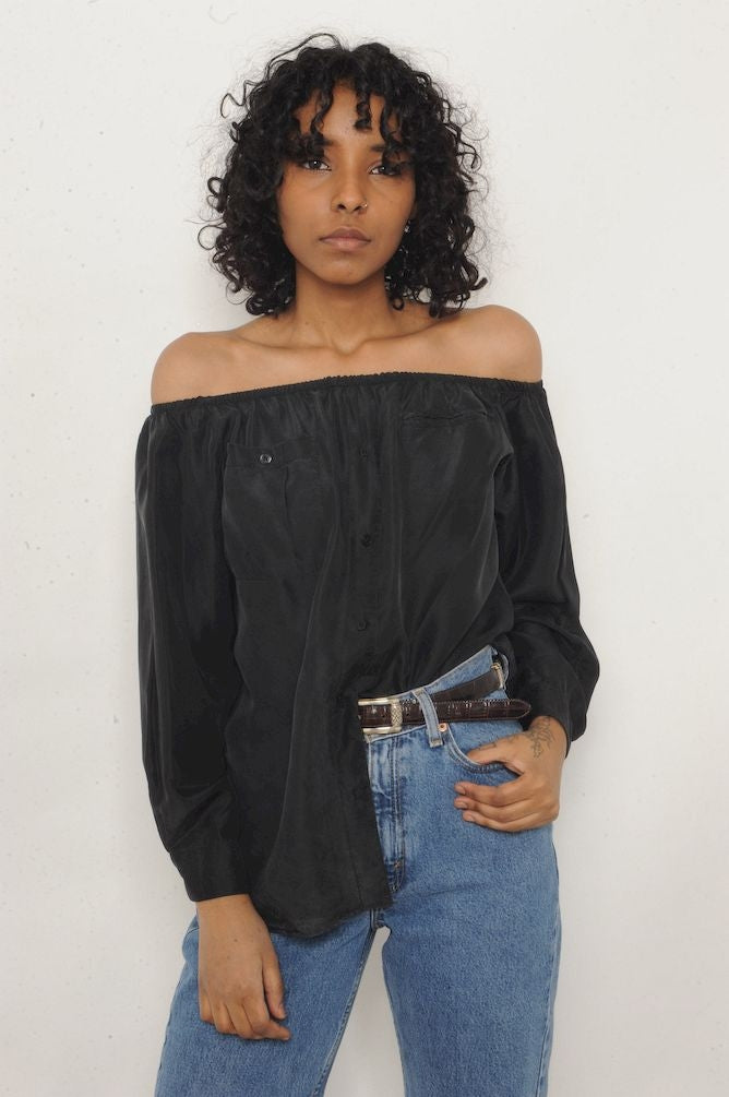 Black Silk Off-The-Shoulder Top