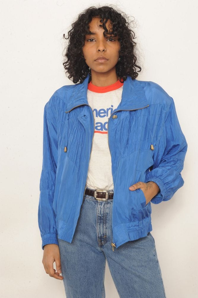 Silk Blue Pleated Windbreaker