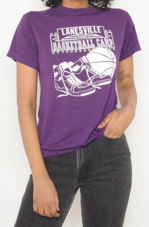 Purple Basketball Camp Tee