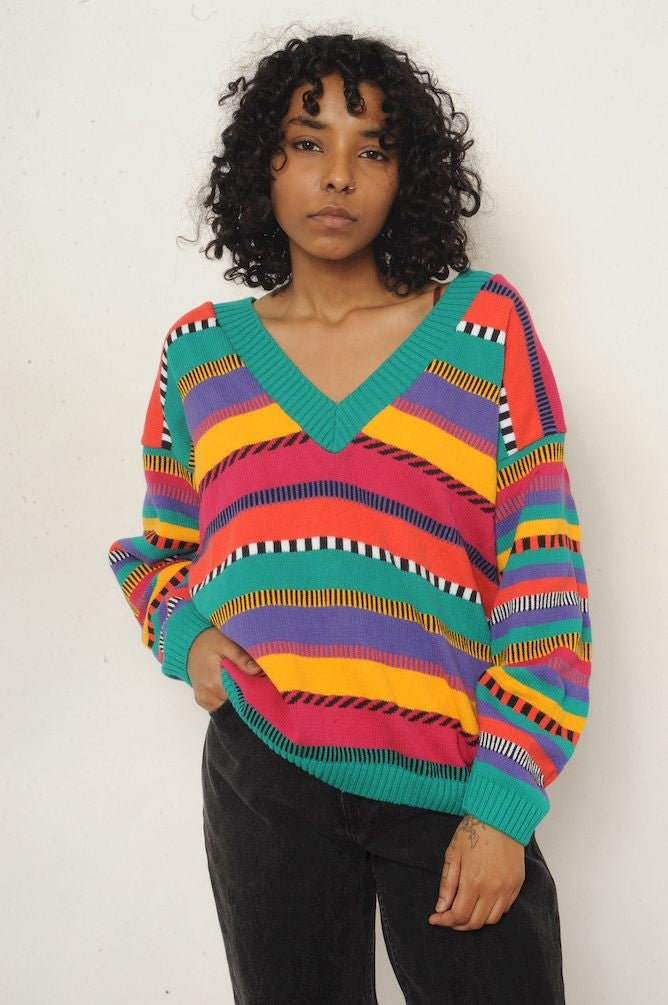 Rainbow V Neck Striped Sweater