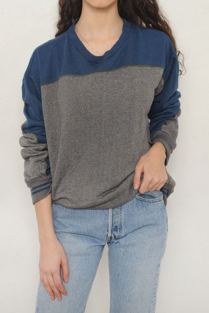 Gray and Blue Colorblock Sweatshirt
