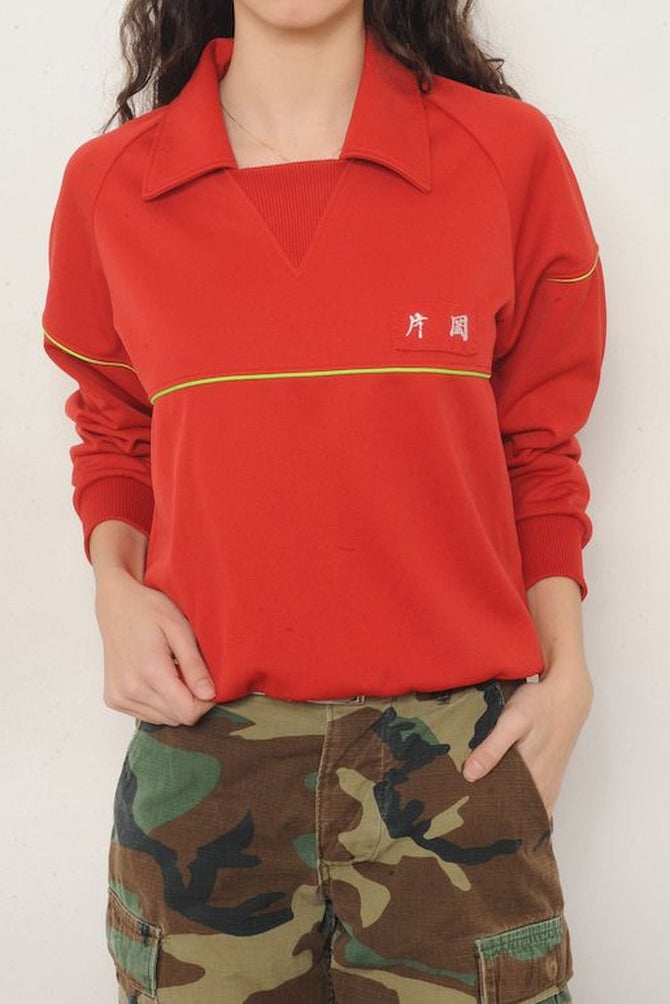 Red Collared Sweatshirt