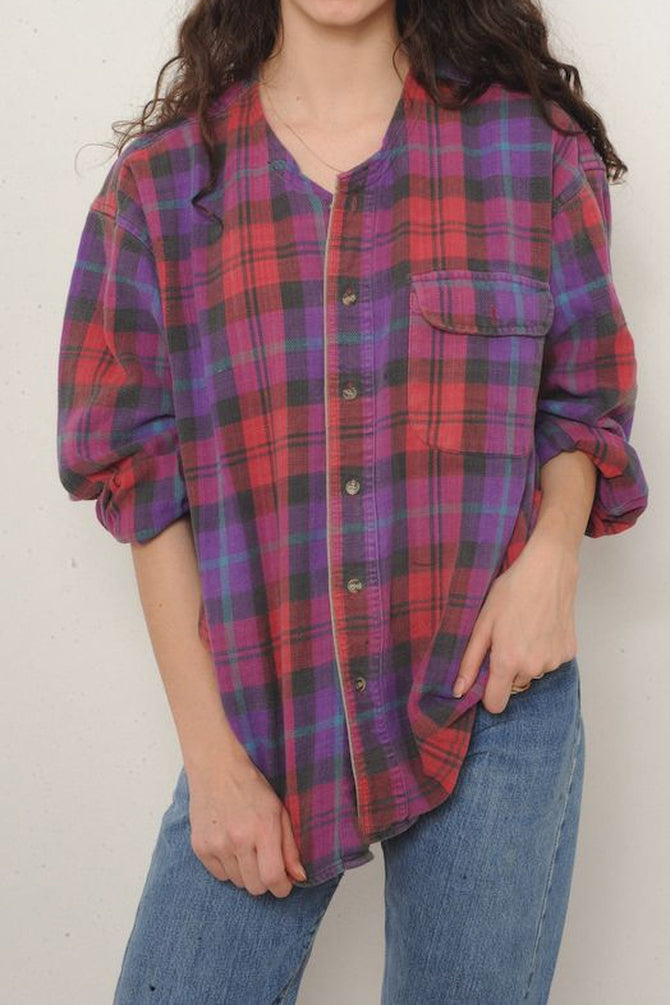 Red and Purple Plaid Flannel Shirt