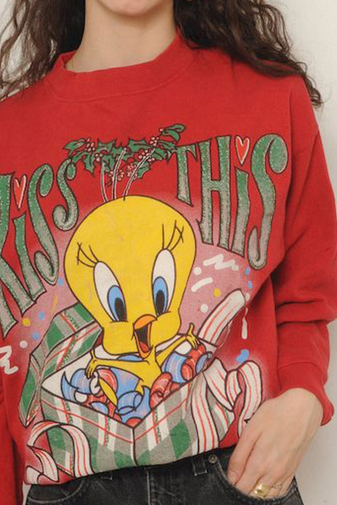 Red Tweety Bird Christmas Sweatshirt