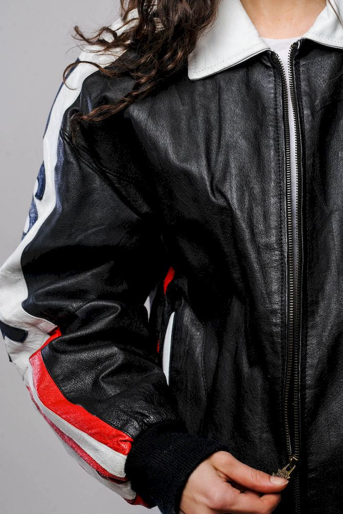 Black and White U.S.A. Leather Bomber
