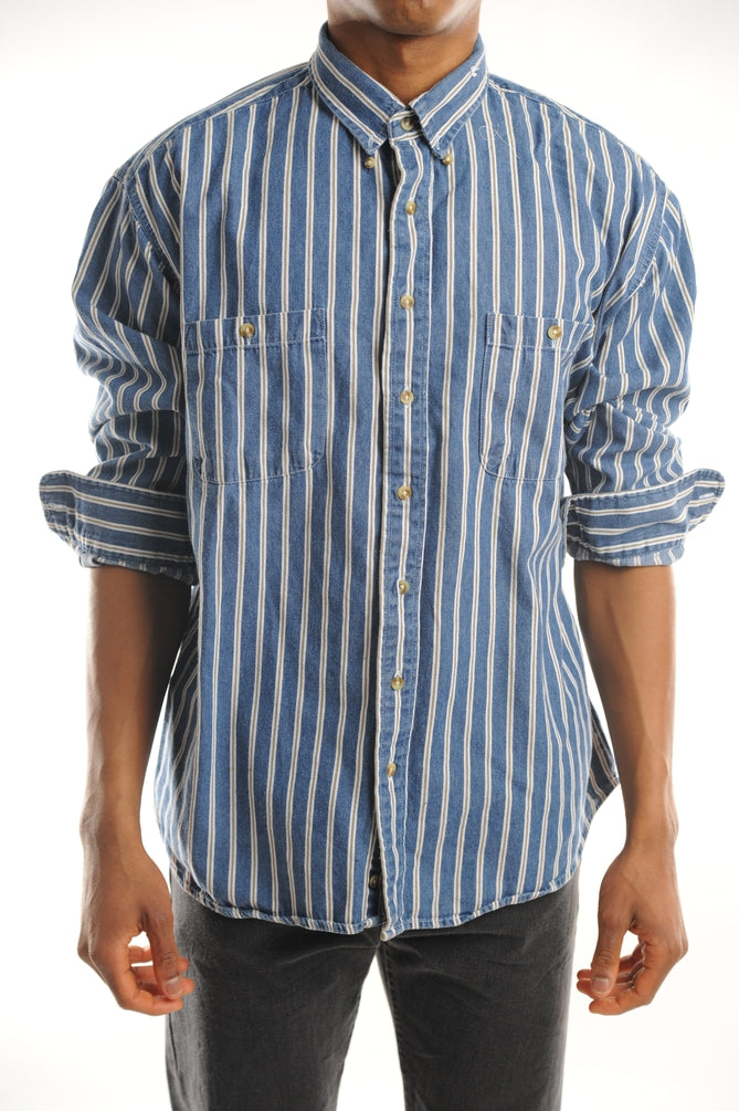 Denim Striped Button Down