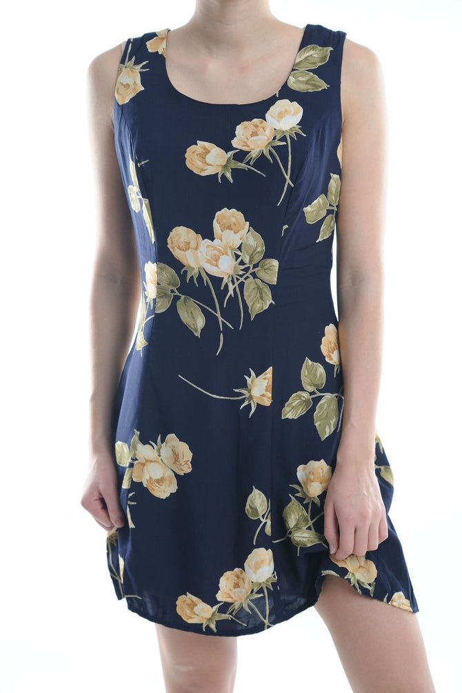 Navy Floral Mini Dress