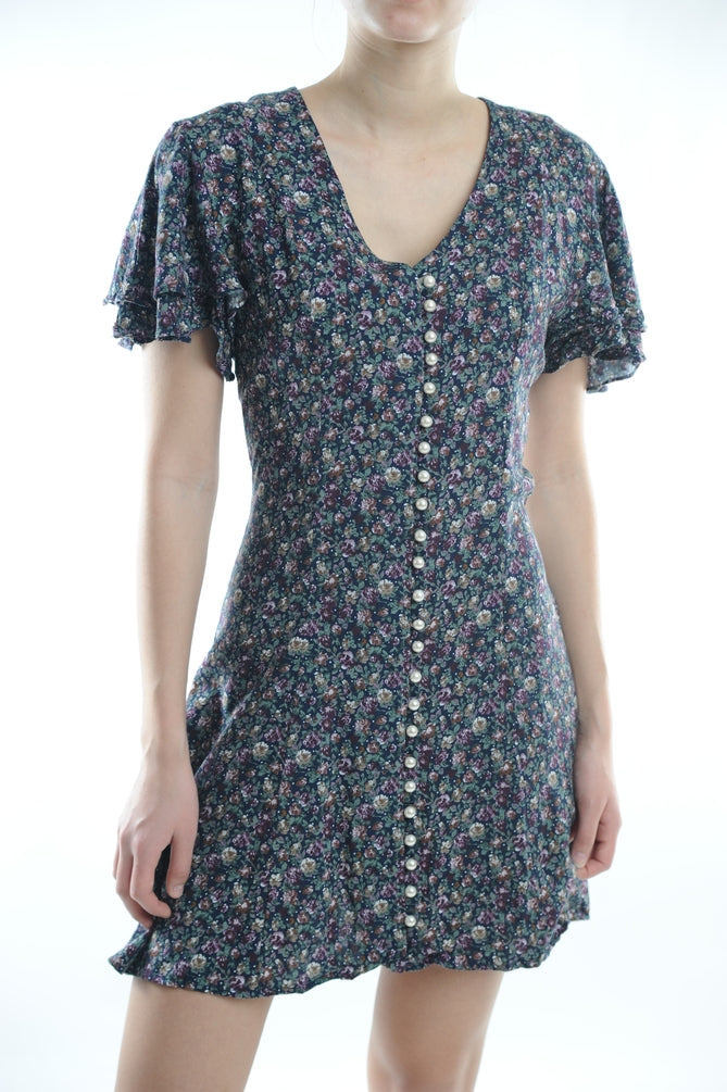 Navy Floral Pearl Button Mini Dress