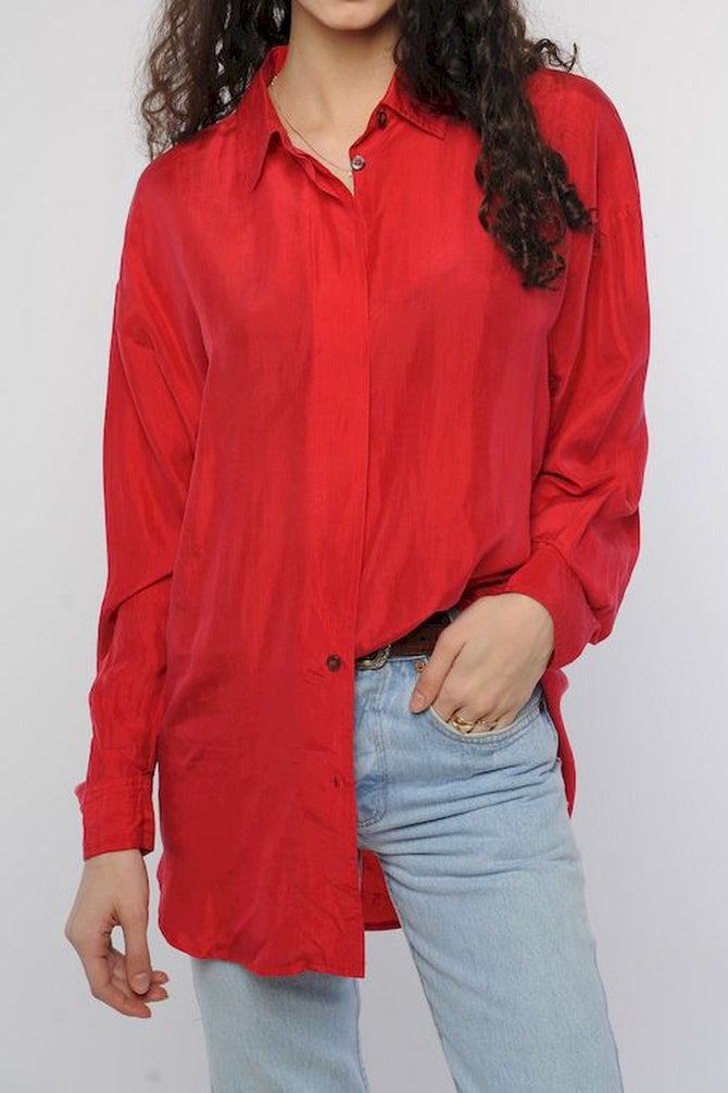 Red Silk Unisex Blouse