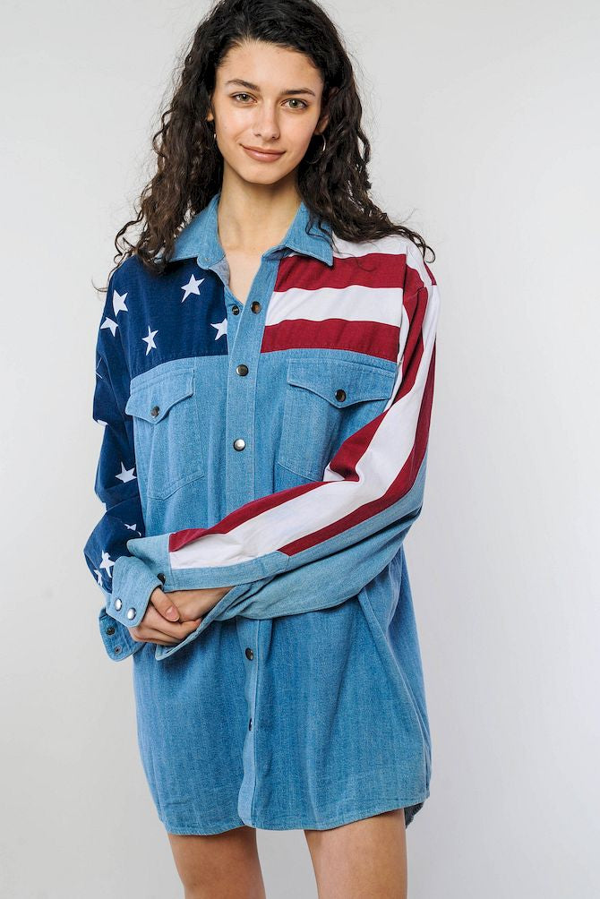 American Flag Denim Shirt