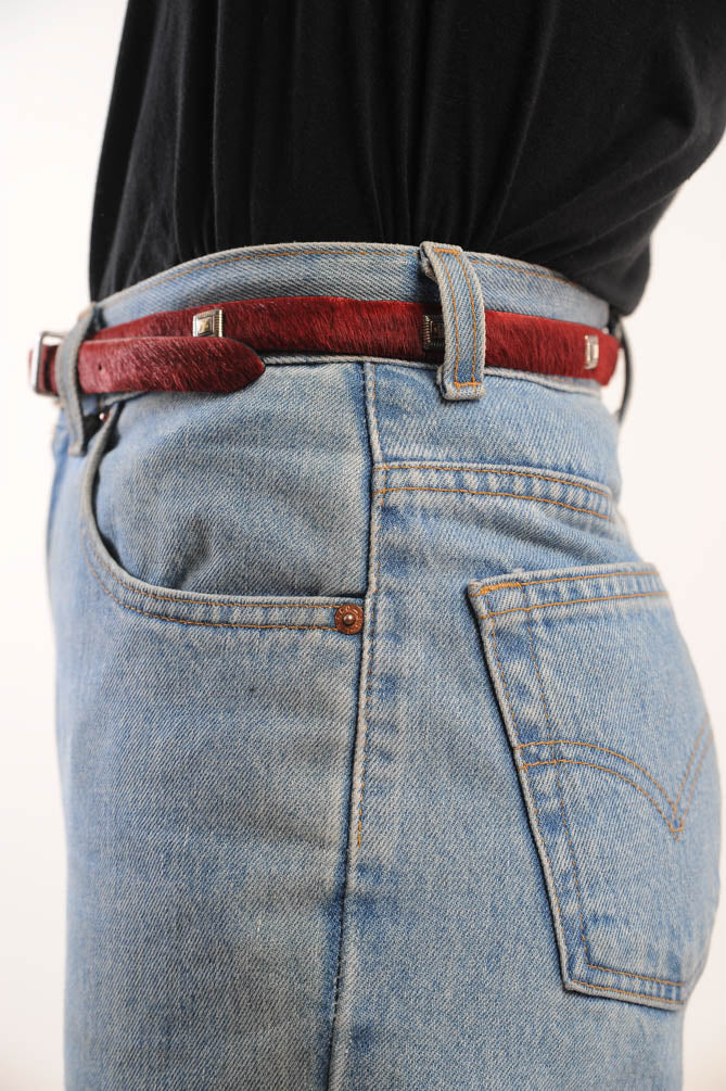 Skinny Red Pony Hair Belt