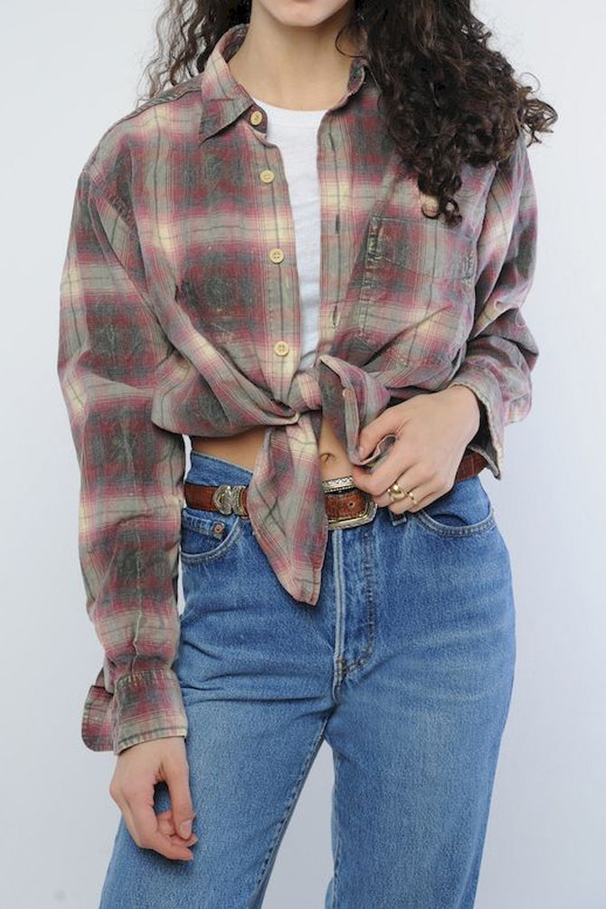 DISTRESSED FLANNEL SHIRT plaid unisex Faded Worn Womens Large