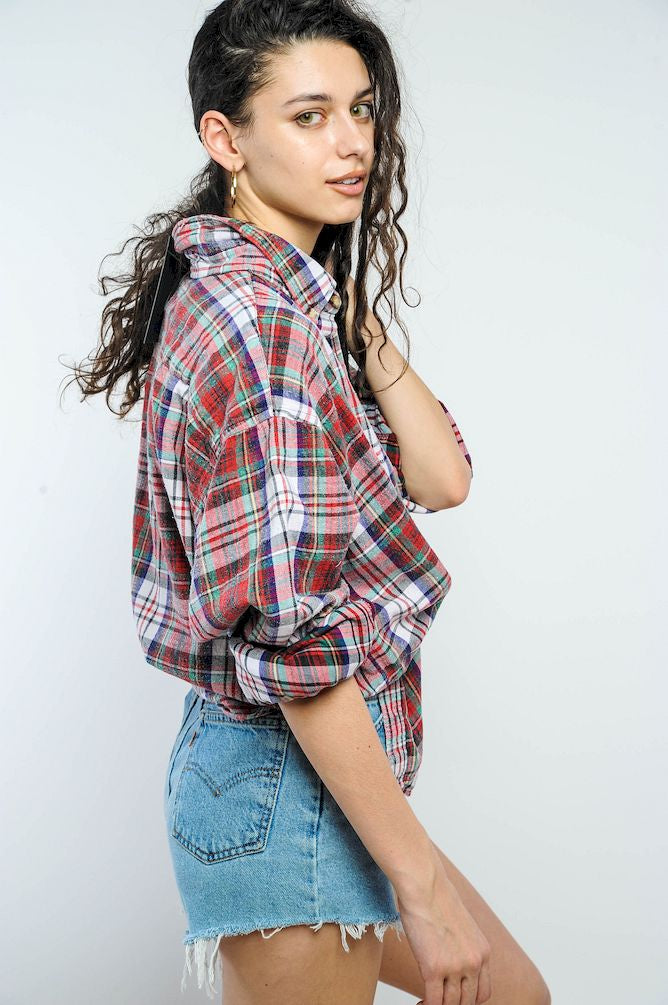 Red Faded Plaid Distressed Flannel Shirt