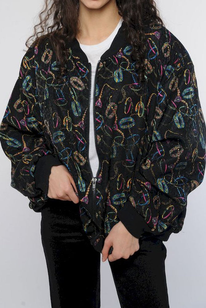 Chain Pattern Silk Windbreaker