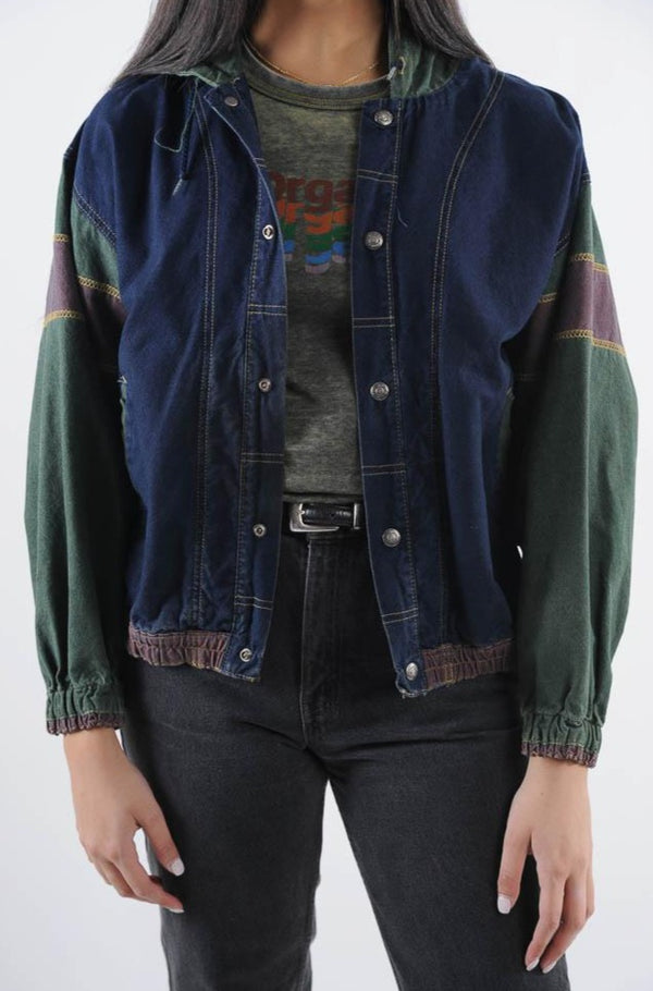 Colorblocked Hooded Denim Bomber Jacket