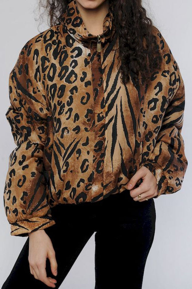 Cheetah Print Silk Windbreaker