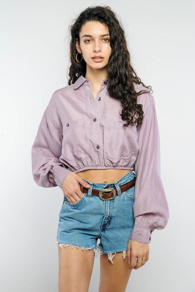 Lavender Silk Cropped Top