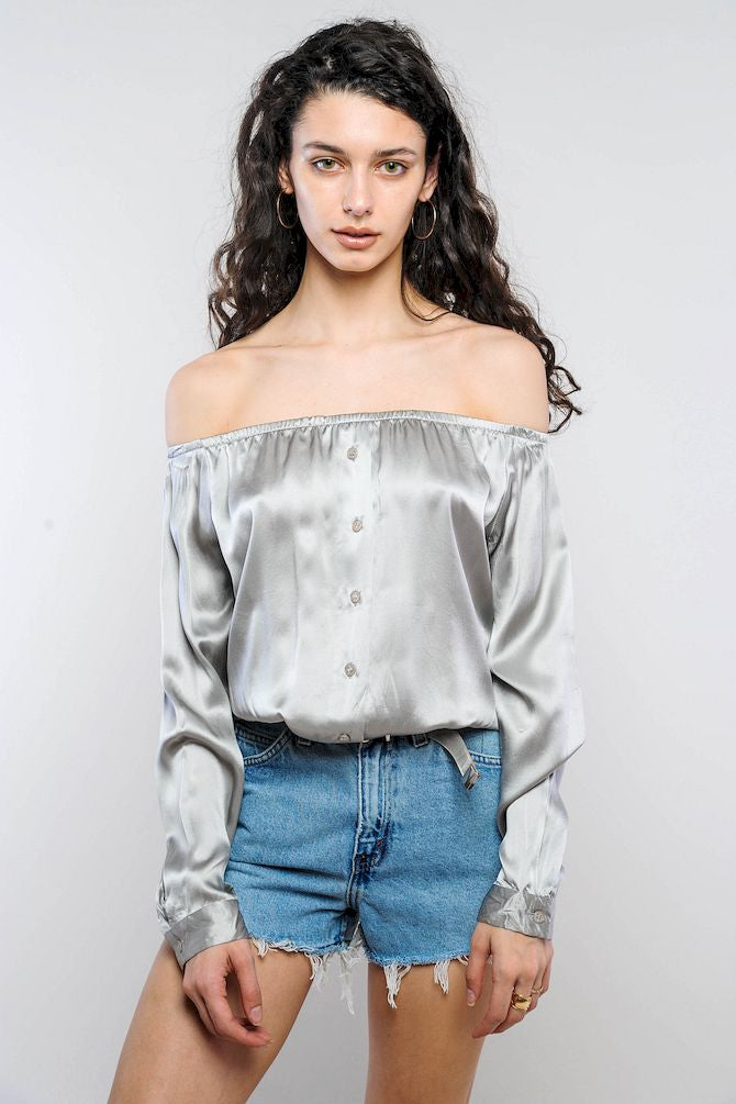 Silver Silk Off-The-Shoulder Cropped Top