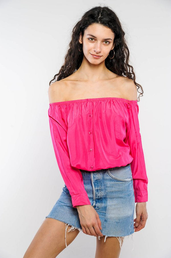 Pink Silk Off-The-Shoulder Cropped Top