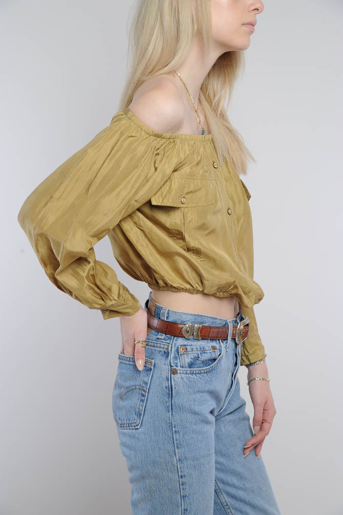 Mustard Silk Off the Shoulder Top