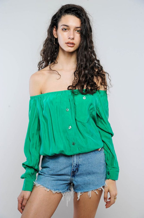 Green Silk Off-The-Shoulder Cropped Top