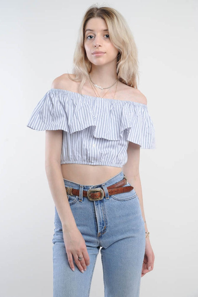 Blue Striped Off-The-Shoulder Cropped Top