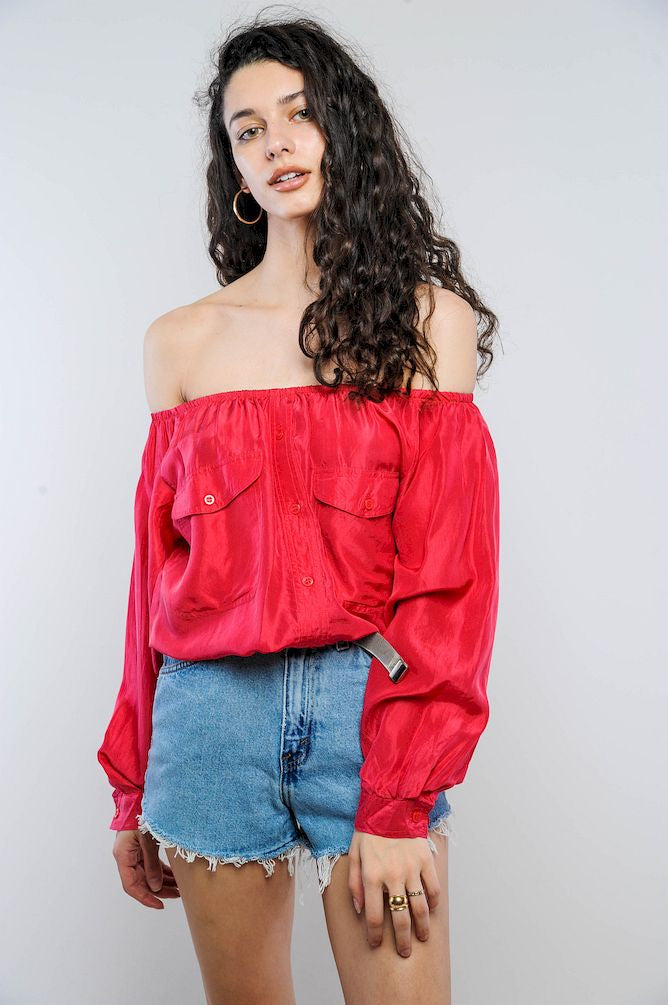 Red Silk Off-The-Shoulder Cropped Top