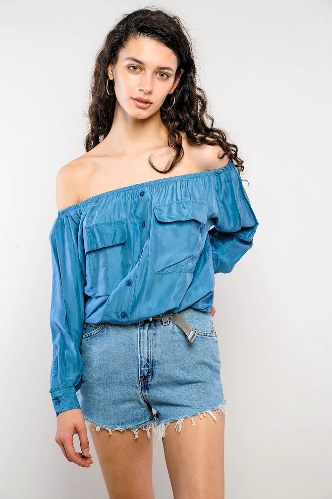 Blue Silk Off-The-Shoulder Cropped Top
