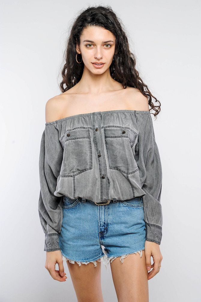 Gray Silk Off-The-Shoulder Cropped Top