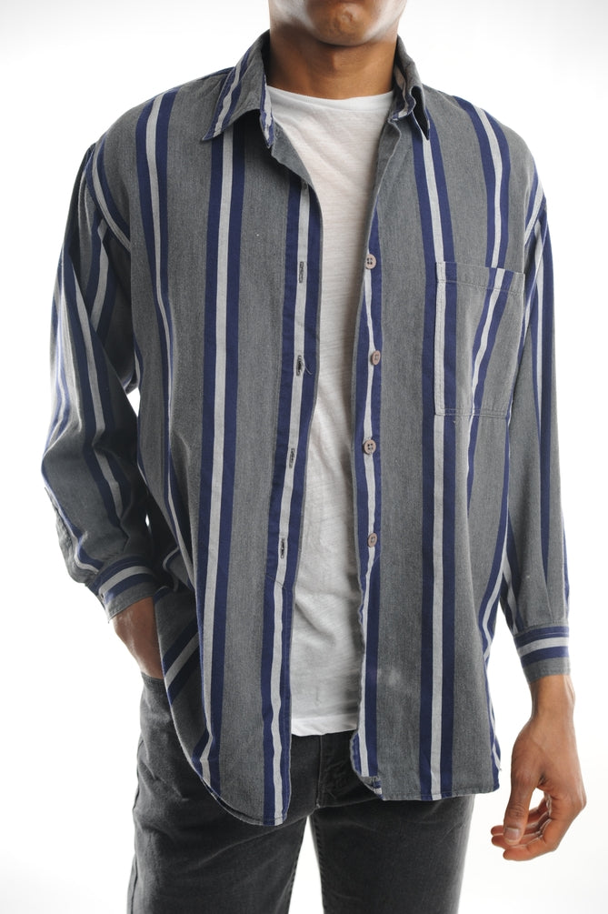 Gray Striped Button Down