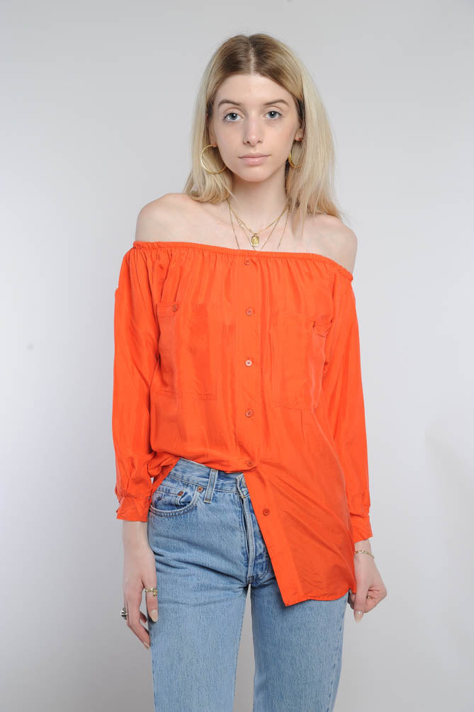 Orange Silk Off-The-Shoulder Top