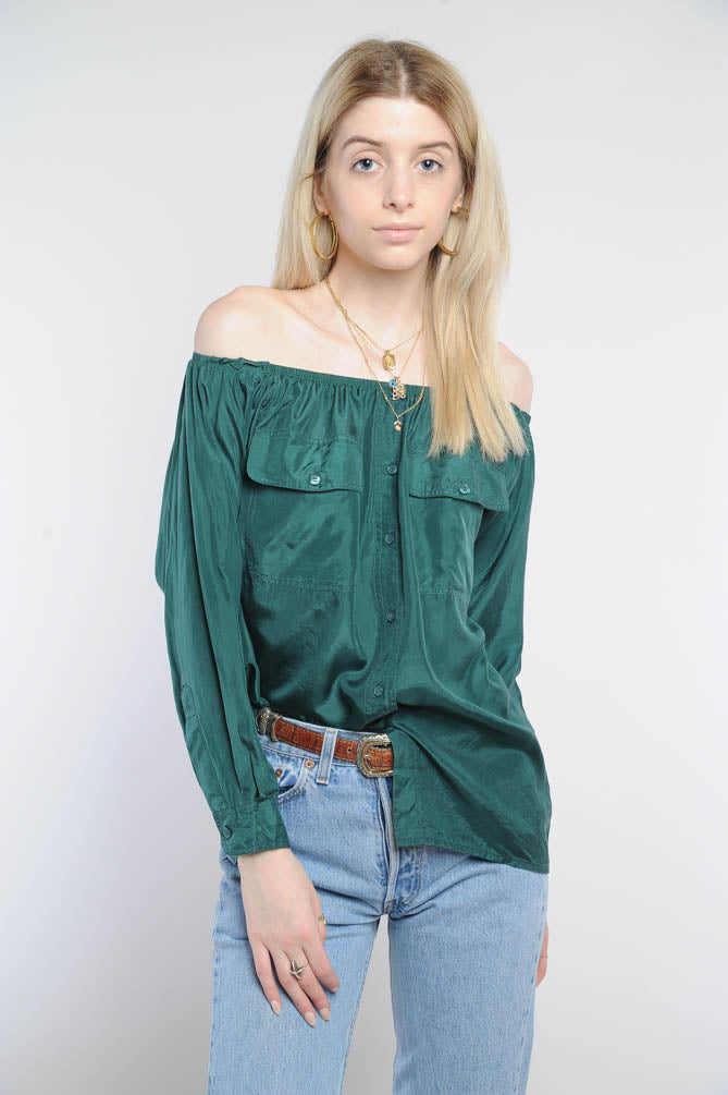 Forest Green Silk Off-The-Shoulder Top