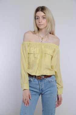 Yellow Silk Off-The-Shoulder Cropped Top