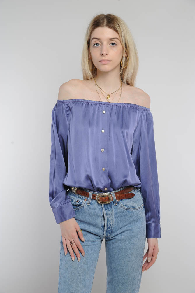 Purple Silk Off-The-Shoulder Cropped Top