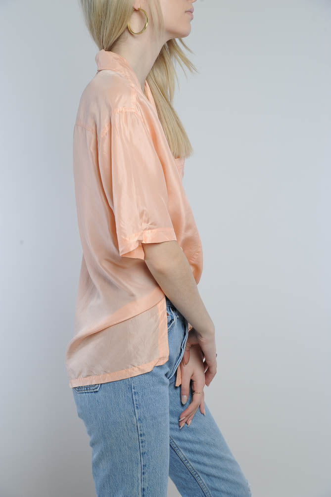 Silk Short Sleeve Button Blouse