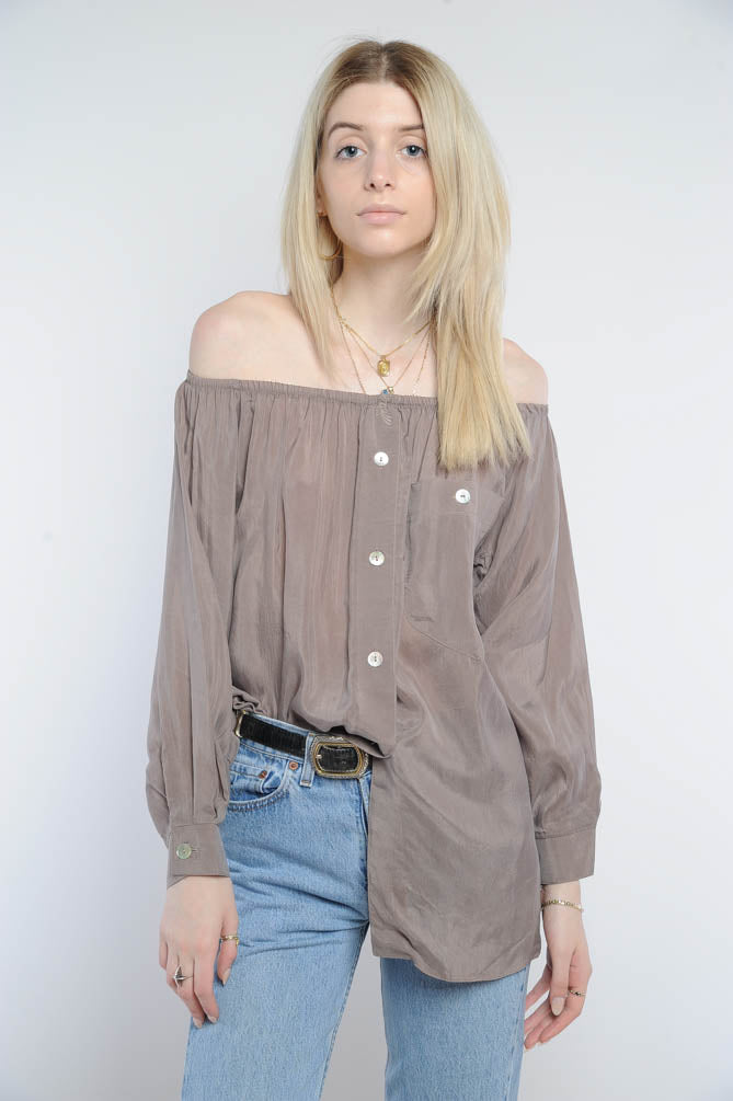 Taupe Silk Off-The-Shoulder Top