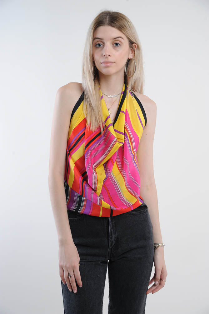 Pink and Yellow Silk Scarf Blouse