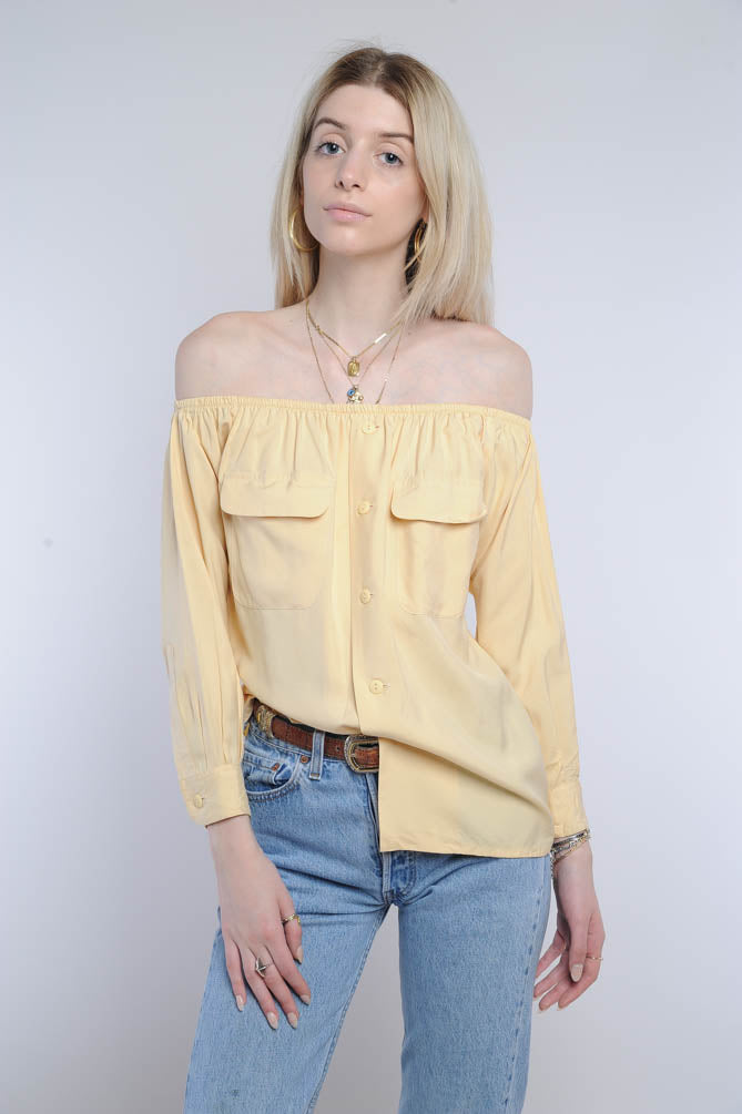 Yellow Silk Off-The-Shoulder Top