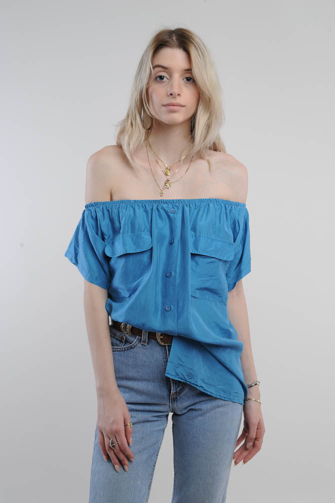 Blue Off The Shoulder Blouse