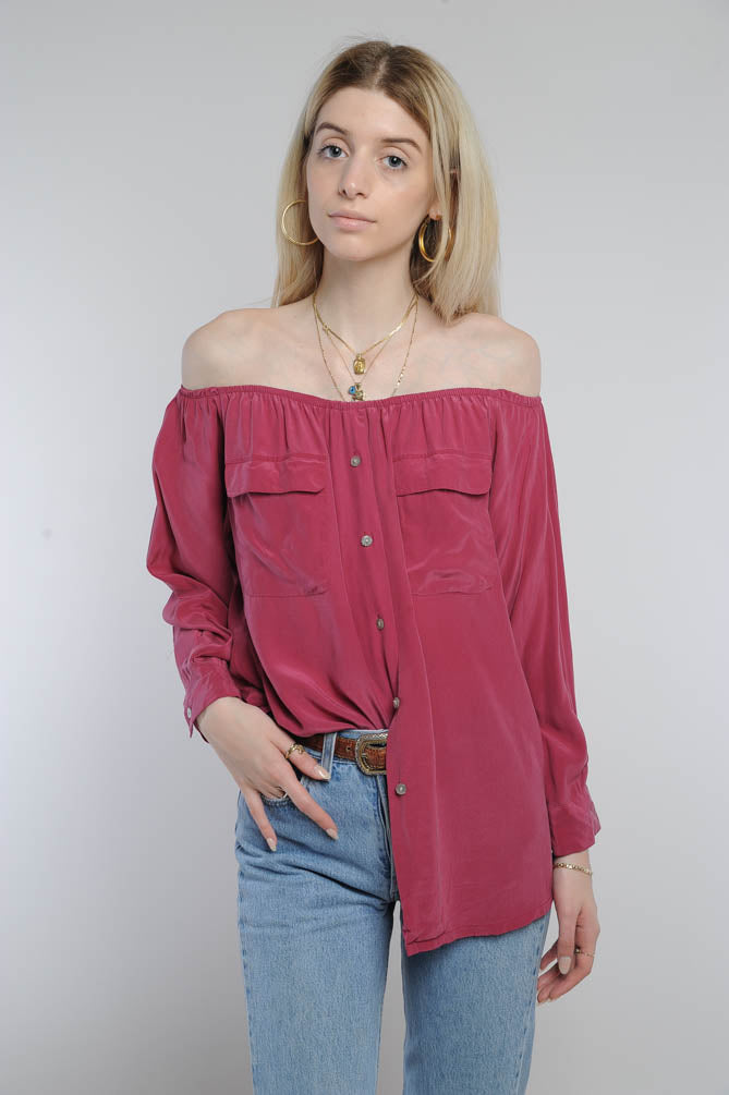 Red Silk Off-The-Shoulder Top