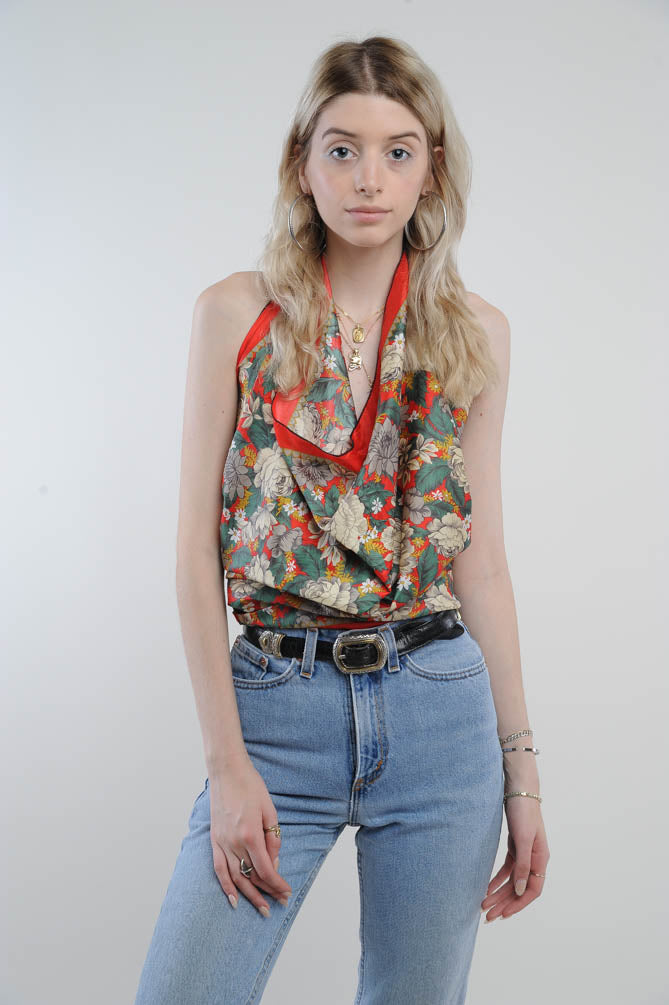 Floral Silk Scarf Blouse