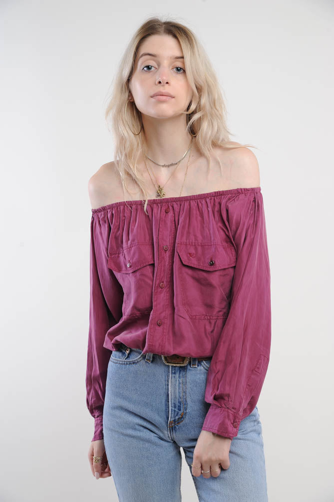 Off the Shoulder Silk Cropped Blouse