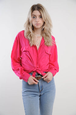 Pink Silk Button Down