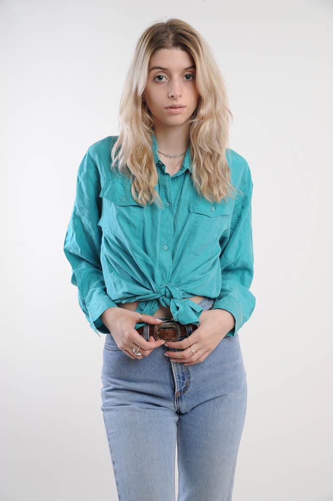 Silk Turquoise Button Down