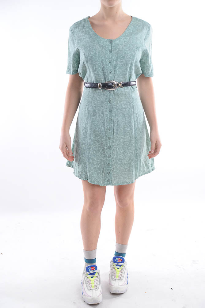 Teal Polka Dot Mini Dress
