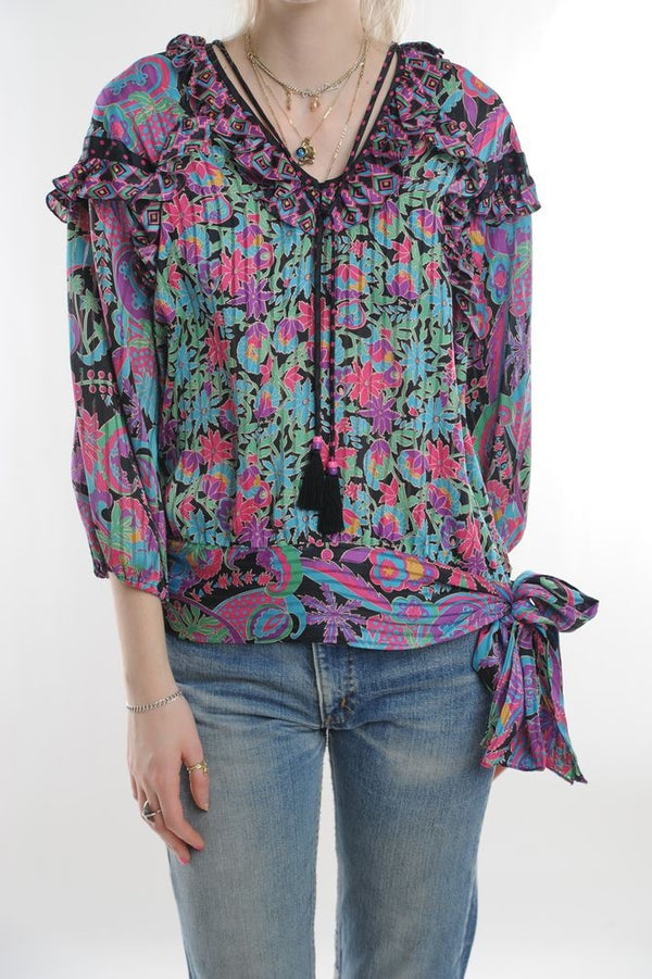 Diane Freis Pleated Blouse