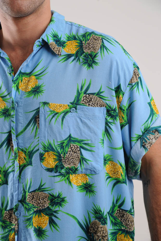 Teal Pineapple Print Button Down