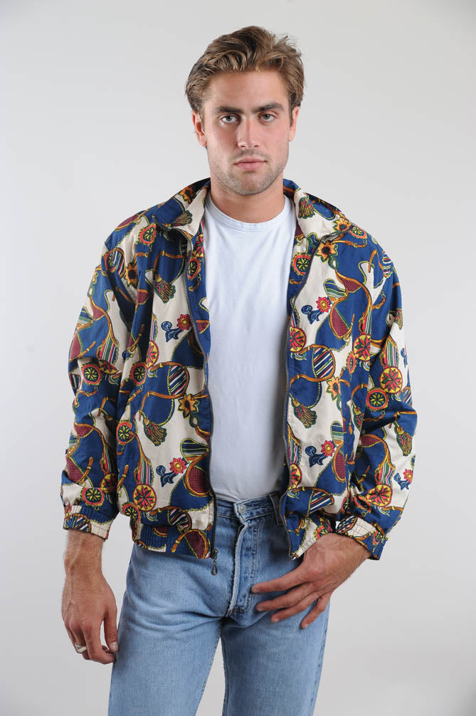 Floral Pattern Silk Windbreaker