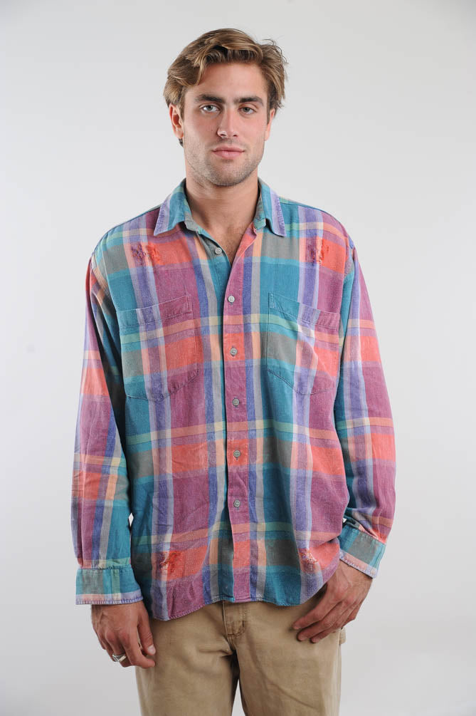 Faded Pastel Plaid Distressed Flannel Shirt