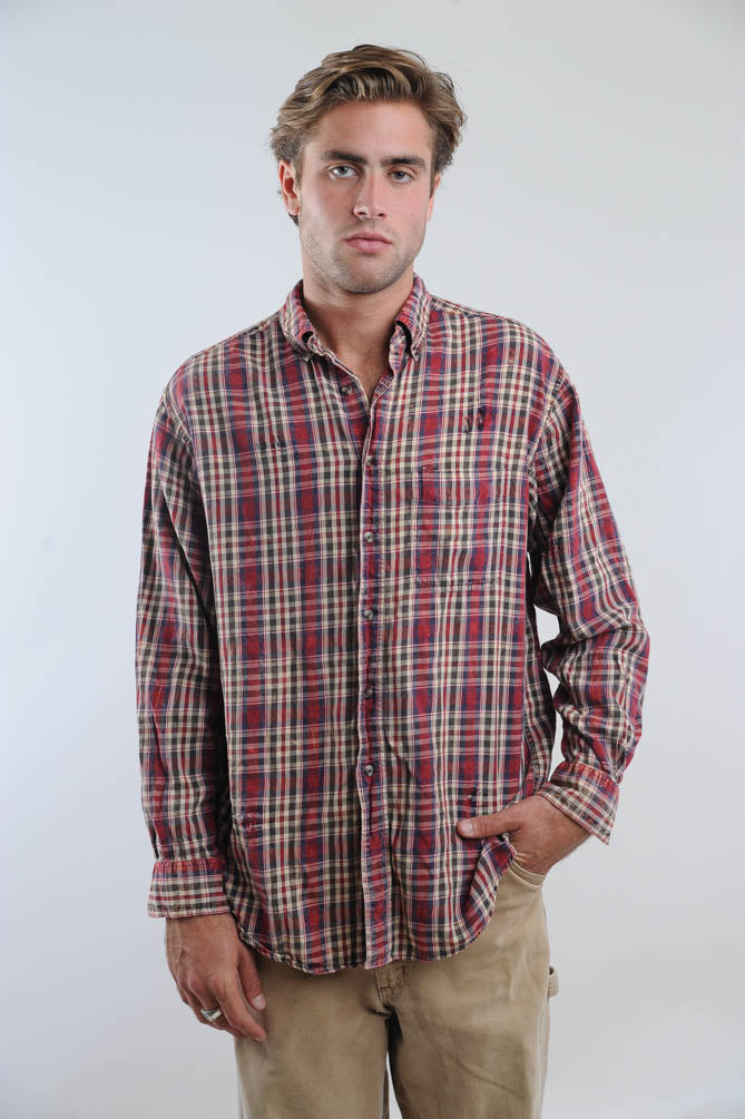 Faded Red Plaid Distressed Flannel Shirt